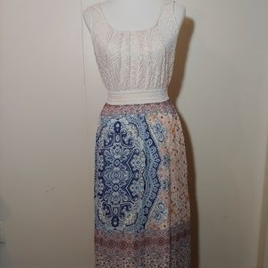 CURE brand long patterned dress Size medium